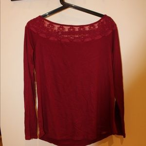 Burgundy long sleeve shirt with lace